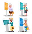 old woman using atm digital terminal set vector image