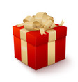 realistic red gift box with golden bow vector image