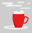 red cup cup of hot chocolate vector image