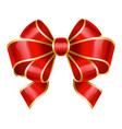 red ribbon bow used for decoration gifts vector image