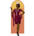 Retro character attractive afroamerican starlet vector image vector image