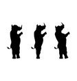 rhinoceros silhouette stands on two legs vector image