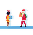 santa claus african woman giving present gift box vector image vector image