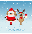 Santa Claus with a bag of deer and The Christmas vector image vector image