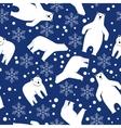 Seamless pattern Polar bear on a blue background vector image