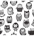 Seamless pattern with ink owls Tribal art vector image vector image