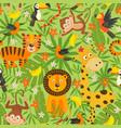 Seamless pattern with jungle animals