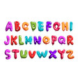 set colorful font in form balloons children s vector image