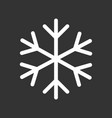 snowflake icon in flat style isolated on black vector image