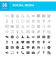 social media line web glyph icons vector image vector image