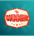the winner banner retro light frame with glowing vector image