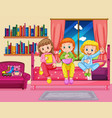 three girls eating snack in bedroom vector image