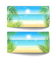 two banners of sand beach at sunset time vector image