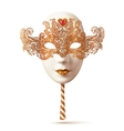White Venetian carnival mask with golden glitter vector image vector image