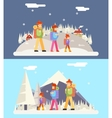 Winter Family Trip Concept Flat Design Icon vector image
