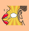 woman lips whispering in mans ear speech bubble vector image vector image