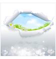 blue sky in torn paper vector image