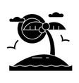 tropical beach island icon vector image
