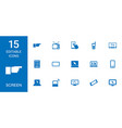 15 screen icons vector image vector image