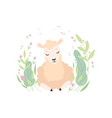 adorable little lamb cute sheep animal lying on vector image