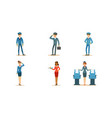 aircraft staff characters stewardess serving vector image