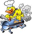 cartoon an yellow chicken riding a bbq grill vector image