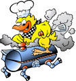 cartoon of an yellow chicken riding a bbq grill vector image vector image