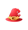 cartoon witch hat icon red magician cap vector image vector image