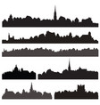 city silhouett set european cityscape views vector image vector image