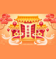 clouds and opened temple doors lanterns sakura vector image vector image
