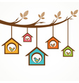 Collection of birds in feeders hanging by a string vector image