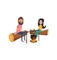 couple at picnic sitting on logs near campfire vector image