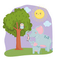 cute animals elephants opossum and owl in tree vector image vector image