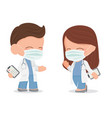 cute young doctors couple with face mask on vector image