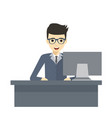 design of professional working at his desk vector image vector image