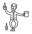 drunk man line icon sign on vector image vector image