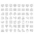e learning and educated online icon set outline vector image vector image