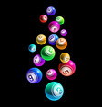 falling colorful lottery bingo balls from 1 to 9