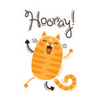 funny cat yells hooray in vector image vector image