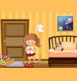 girl dressing up in school uniform in bedroom vector image