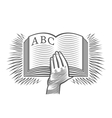 Hand with hornbook vector image