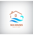house logo with blue wave Rent near sea vector image vector image