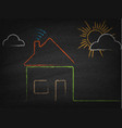 house with wi fi sign drawn chalk on blackboard vector image vector image