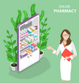isometric flat concept of online pharmacy vector image vector image