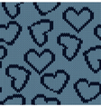 Knitted background with the image of hearts vector image vector image