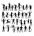 little girl playing with hula hoop silhouettes vector image