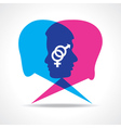 Male and female face make speech bubble vector image vector image
