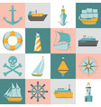 marine collection of ship icons in flat style vector image vector image