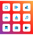 media icons colored set with bookmark film vector image