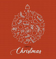merry christmas holiday season icons bauble card vector image vector image